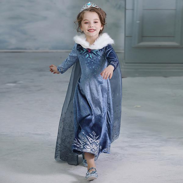 Novo Atacado vestido de Inverno Crianças congelados princesa Vestidos Crianças Partido Bebés Meninas Halloween Costume Vestuário Cosplay com pacote por DHL