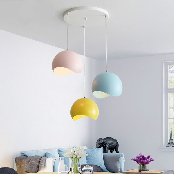 Mido Nordic Colour Macaron Three-Head Combination Restaurant Chandelier Modern Simple Single-Head Restaurant Bar Lantern