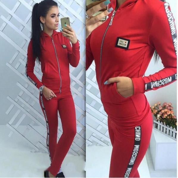 Hoodies suit portu Takım 2 Adet Pantolon Set Baskı Hayvan Kadın Eşofman Iki Parçalı Set Uzun Kollu Rahat Gri Spor giyim