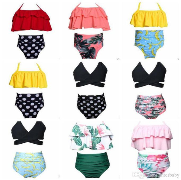 best selling Girl Swimwear Kids High Waist Bikini Baby Print Falbala Swimwear Summer Fashion Bathing Suits Polka Dot Beachwear Kids Swim Clothes BYP4080