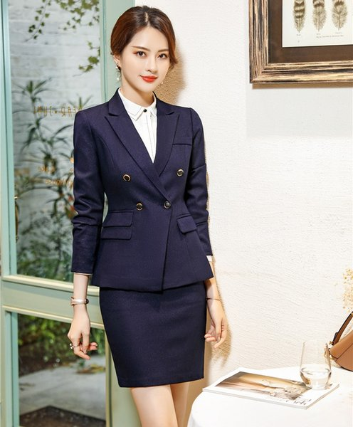 High Quality Fiber Formal Female Skirt Suits for Women Business Suits Blazer and and Jacket Sets Ladies Work Wear OL Style