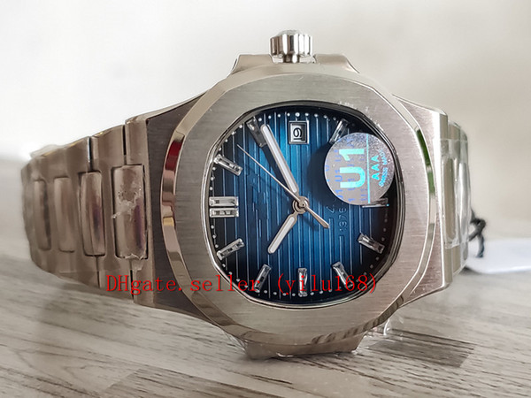 U1 Fabrika Mens Otomatik Hareketi 40mm İzle Mavi Dial F Nautilus Klasik 5711 / 1A Saatler Şeffaf Arka Saatı Orijinal kutu