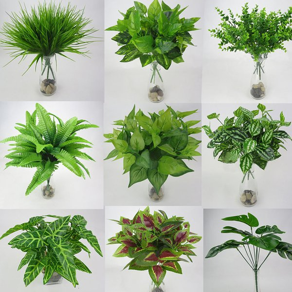6pc Artificial Flowers with Leaf Green Grass Plastic Plants Fake Leaf Foliage Bush for Home Wedding Decoration Party Supplies