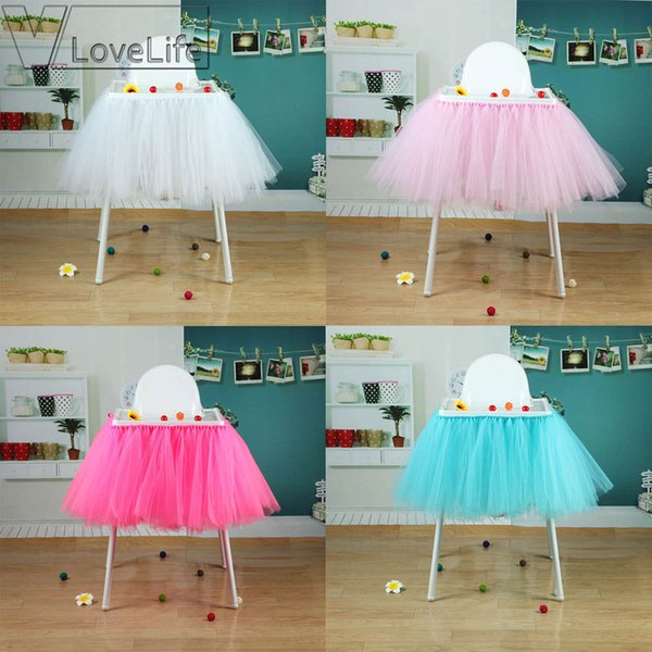 High Quality100cm X 35cm Tutu Tulle Table Skirts Baby Shower Birthday Decoration For High Chair Home Textiles Party Supplies