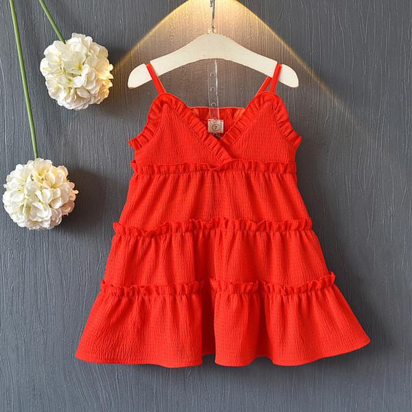 Chicas 2019 verano nueva playa de la falda muchacha de los niños de vacaciones falda del vestido de la gasa de la princesa de Corea del niño rojo