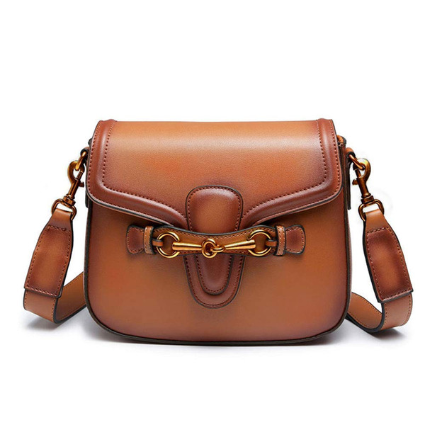 JHD-Shoulder Bag Para Mulheres Moda Retro Crossbody Handbag Saddle Bag