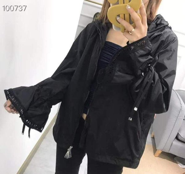 New brand M Summer Women's Lace Trimming Hooded Sun Protection Clothing Trumpet Sleeve Lace Panel Sunscreen Jacket