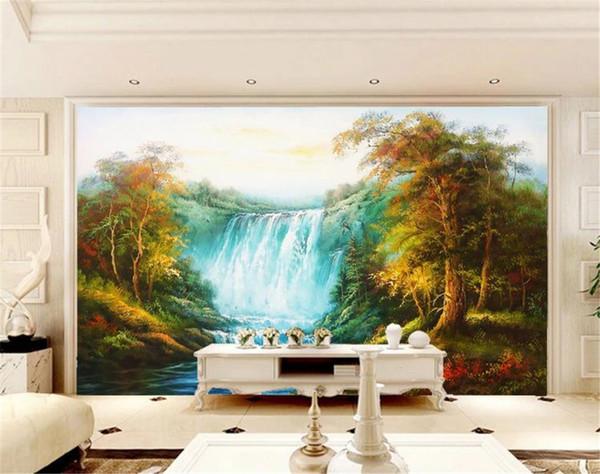 Great Falls Woods Schöne italienische handgemalte Tapete des Landschaftshintergrund-Wandgemäldes 3d im europäischen Stil