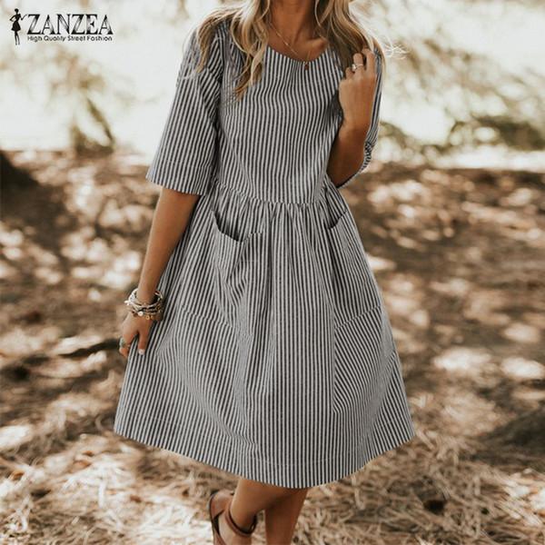Лето в полоску платье женщины винтаж с половиной рукава карманы платья Zanzea плюс размер свободного покроя мешковатый сарафан женский платье халат Q190511