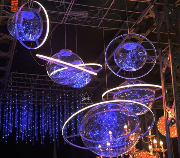 Nuovo arrivo Brillare LED Flash Star Ball Wedding Showcase Decorazione Spazio Planet Hanging Ornament Chandelier Spedizione gratuita LLFA
