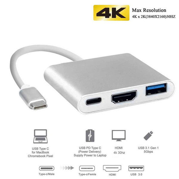 USB 3.1 Type-C to HDMI USB-C Digital Multiport Adapter 4K Female USB 3.0 HUB USB-C OTG Charger for Apple Dell XPS Projector MacBook Pro/Air