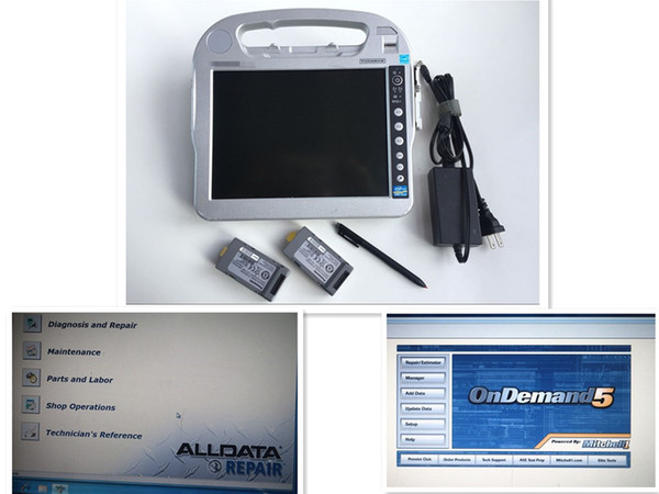 Best price alldata auto repair all data 10.53 and mitchell 2in1 with hdd 1tb installed in laptop toughbook CF-H2 touch screen