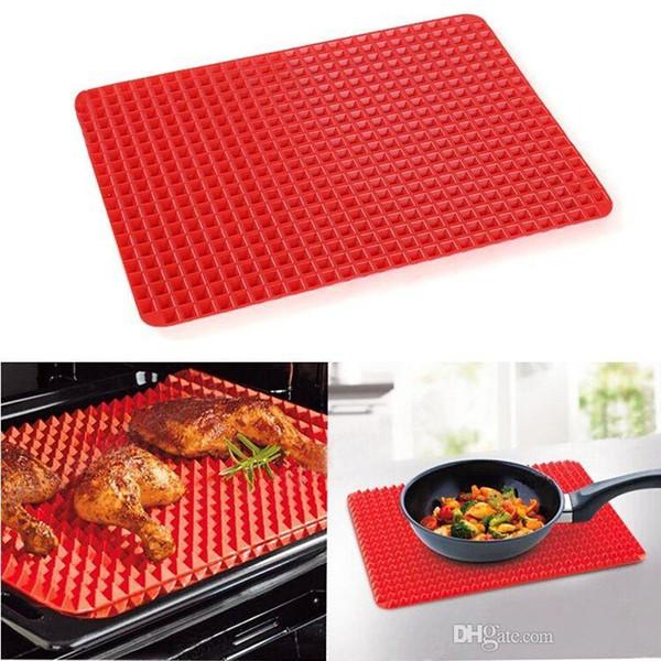Toptan Kırmızı Piramit Pan Yapışmaz Silikon Pişirme Mat Kalıp Pişirme Mat Fırın Pişirme Tepsisi Ücretsiz Kargo