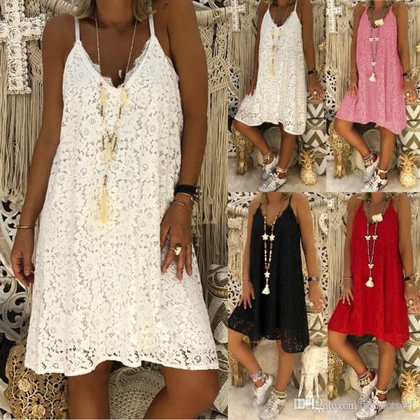 27YIQIAOHUI 4Colour S-5XL Sexy Summer Sundress Summer Loose Beach Casual con cuello en V de encaje Mini vestidos cortos