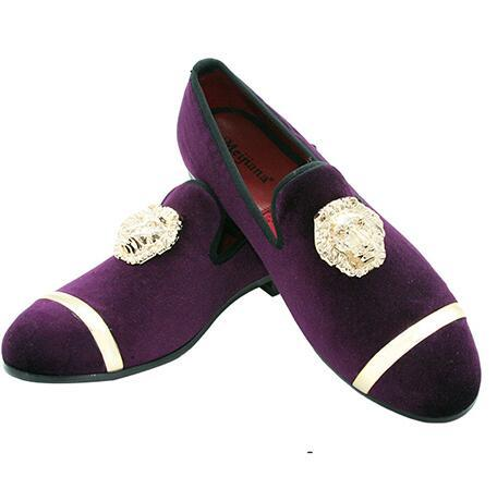 New Fashion Gold Top and Metal Toe Men Velvet Dress shoes italian mens dress shoes Handmade Loafers c51