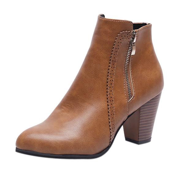 Vintage Stiefeletten mit spitzen Zehen für Damen Chunky Thick Heel High Heels Stiefel mit quadratischem Absatz und Reißverschluss Kurzer Stiefel botas altas mujer # 0820