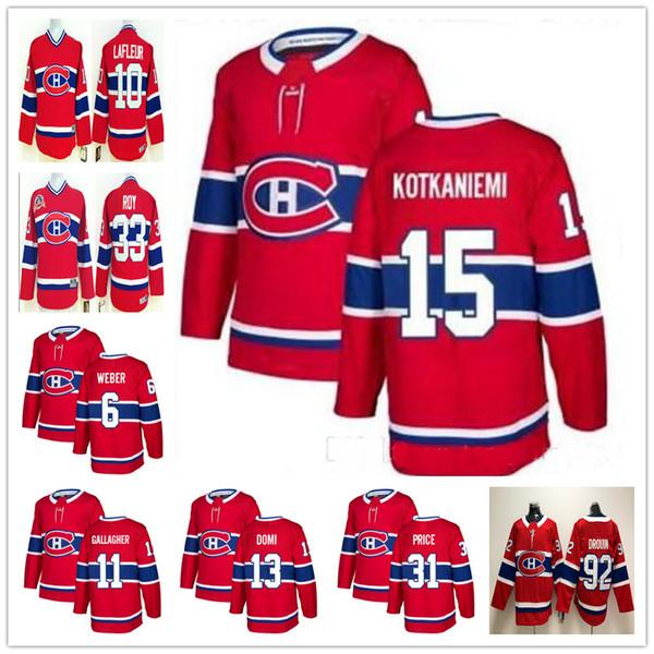 Jugend Männer Montreal Canadiens Jesperi Kotkaniemi 6 Shea Weber Carey Preis Max Domi Jonathan Drouin Richard Lafleur ROY Gallagher Kinder Trikots