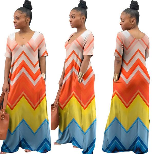La vendita calda di vacanza donne personalità O-Collo manica corta Maxi Dress Elegante colorato autunno sciolto High Street Abiti di alta qualità