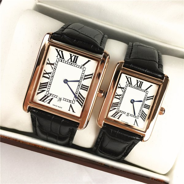 Известный дизайнер моды роскошь Мужчины / Женщины бренд часы досуг кожаный ремешок новое платье часы кварцевый квадратный циферблат лицо Relojes De Marca