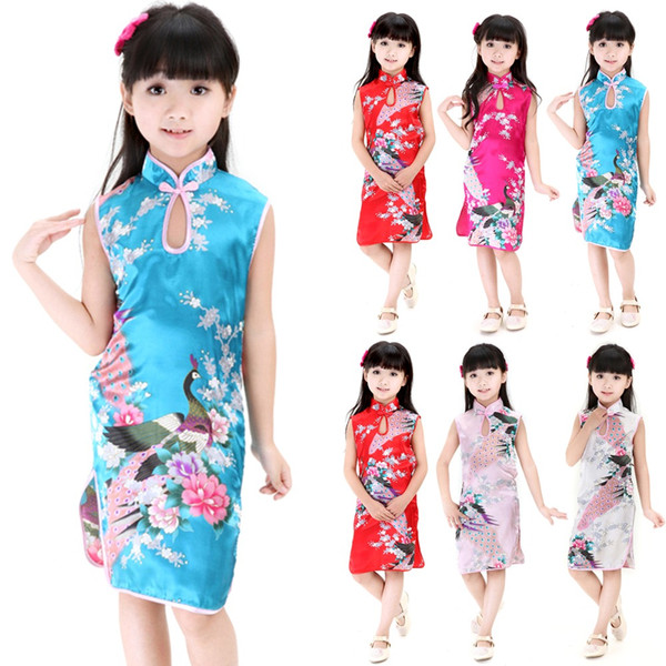 vente chaude 2Y-8Y Baby Girl Robe Peacock manches Slim costume traditionnel Cheongsam enfant layette style chinois qipao