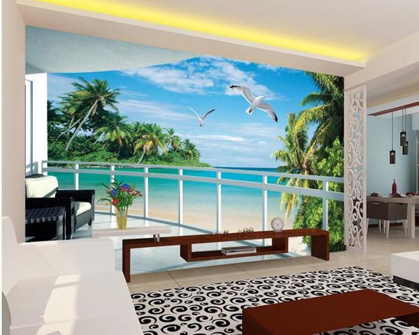 carta da parati moderna per soggiorno Balcone 3D vista mare soggiorno sfondo pittura murale