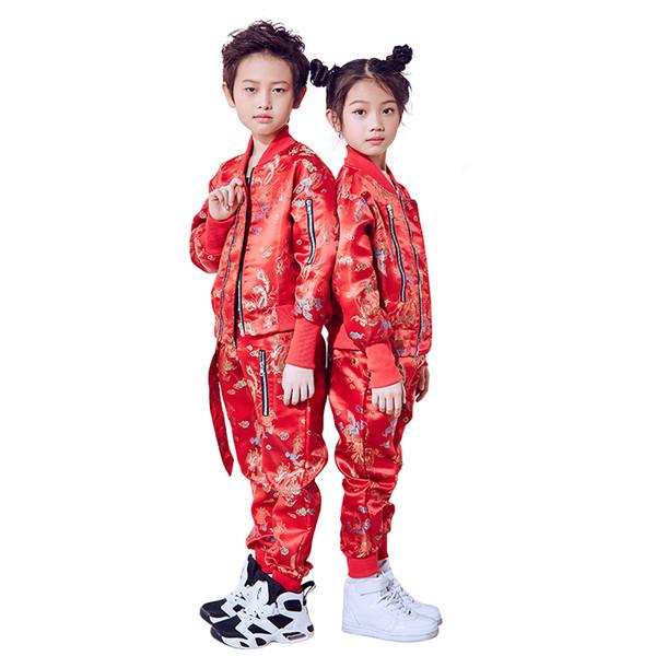 Tanzkostüm Kind Jazz Rave Kleidung Rot Hip Hop Performance Kleidung Jungen Mädchen Tanzen Outfits Chinesische Bühne Dancewear DC1068