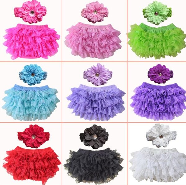 Baby Girl Bloomers with headband Girls Lace PP Shorts Briefs Fashion Bloomer Diaper Cover Ruffle Bread Pants Underpant KKA6690