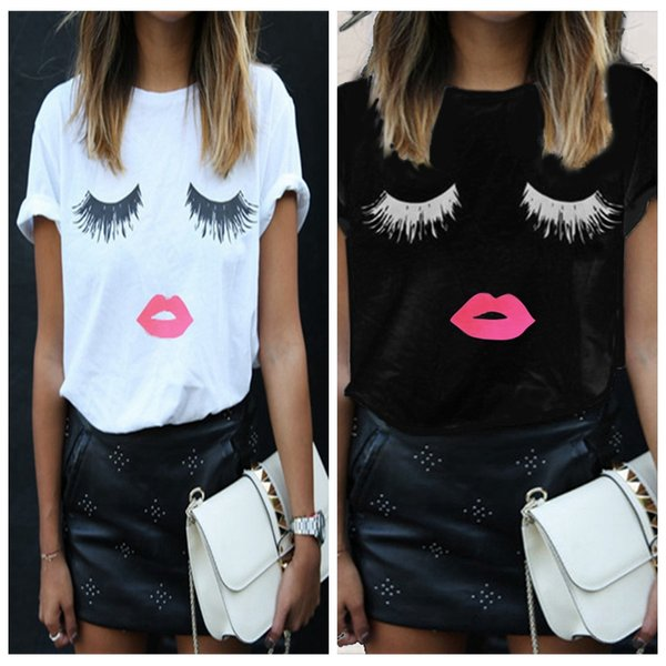 New fashion women's casual top cute printed eyelash red lips short printed T-shirt O-neck lady clothing plus size S-5XL