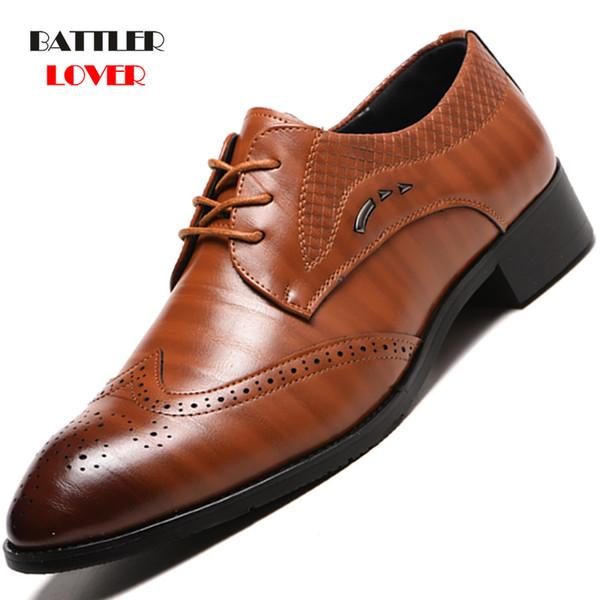 38-48 Moda Hakiki Deri Brogue Ayakkabı Erkekler Elbise Ayakkabı Erkekler Için Dantel Sivri Oxfords Ayakkabı Dantel Up Tasarımcı Lüks resmi