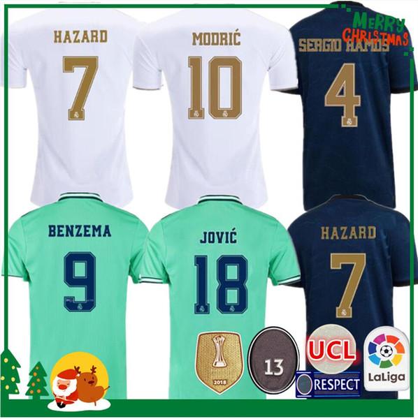 19 20 Real Madrid Futebol Jersey Benzema Jovic Modric Sergio Ramos Bale PERIGO A mulher ostenta camisas de futebol 2019 adultos 2.020 homens crianças kit