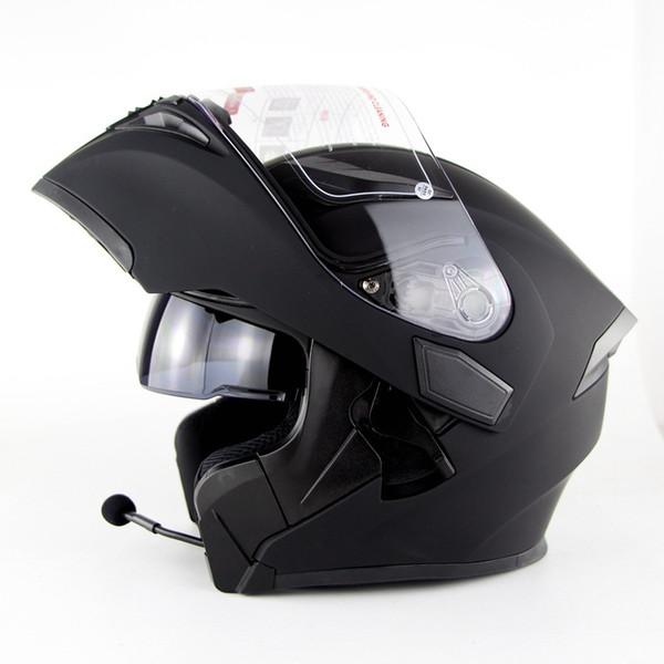 Bluetooth headset helmet with FM Radio Flip up motorcycle helmet man women dual visor with inner sunny shield moto helmets