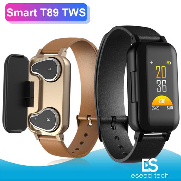 T89 Smart Armband TWS Bluetooth Kopfhörer Fitness Tracker Pulsmesser Smart Armband Sportuhr für Android und iOS mit Paket