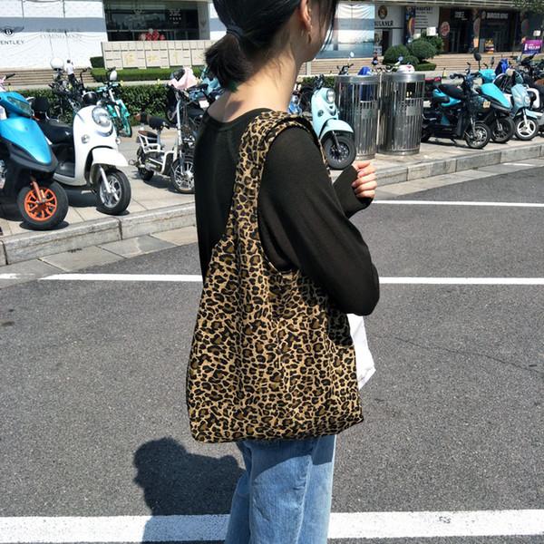 Femmes Lady épaule Sac ouvert sac en toile de léopard de mode Sac d'école Casual B102125Z