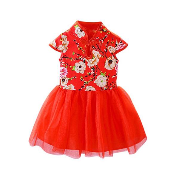 Wedding Dress Girls Dresses Summer Baby Clothes Kids Girls Chinese Style Dress Children Pageant Button Design Vestidos