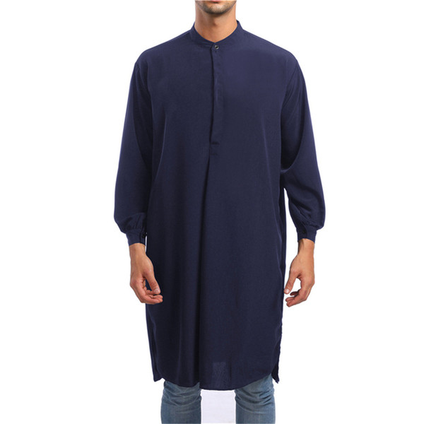 Arabian Style Male Long Shirts Elegant Dinner Party Clothing Gentleman Evening Dress Tops Solid Color Novelty Muslim Male Blouse