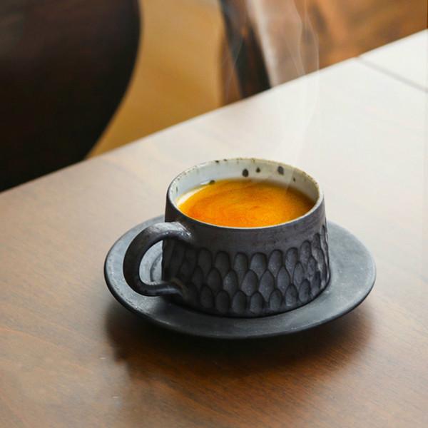 60cc creativo fatto a mano in ceramica ceramica grossolana tazza di caffè espresso con piattino kit mini drinkware ufficio latte yogurt tazza regalo arte