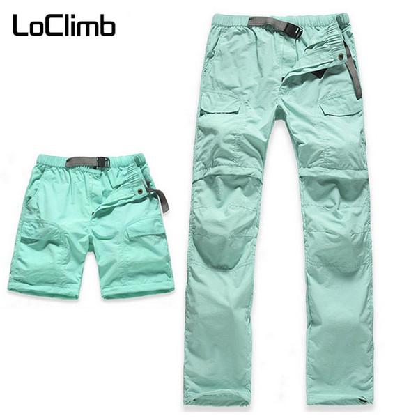 LoClimb Women's Elastic Waist Camping Hiking Pants Women Summer Outdoor Sport Trekking Cycling Travel Quick Dry Trousers,AW031