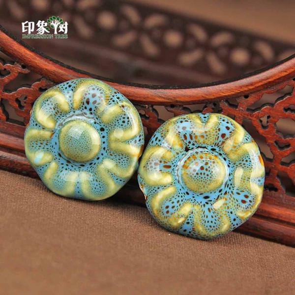 34x16mm Blume Form Handgemachte Spoted Farbige Keramikperle Porzellan Charme Perlen Lose Perle DIY Schmuck Machen 68