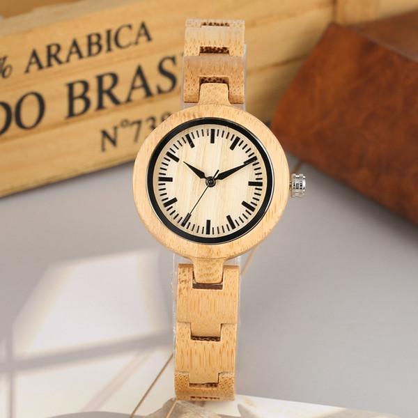 Reloj de bambú minimalista Todos los relojes de cuarzo de madera Relojes de mujer Relojes de pulsera analógicos de cuarzo Reloj de madera simple en línea