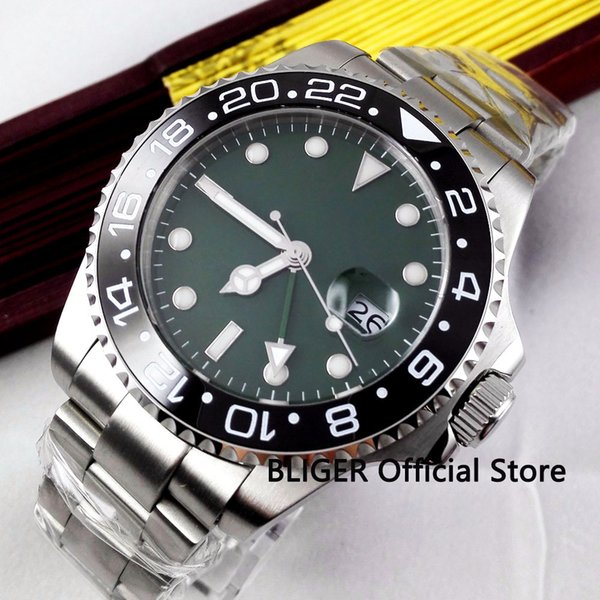 Sapphire BLIGER 43MM Green Sterile Dial Men's Watch Big Face Date Window GMT Function Luminous Marks Automatic Movement Watch