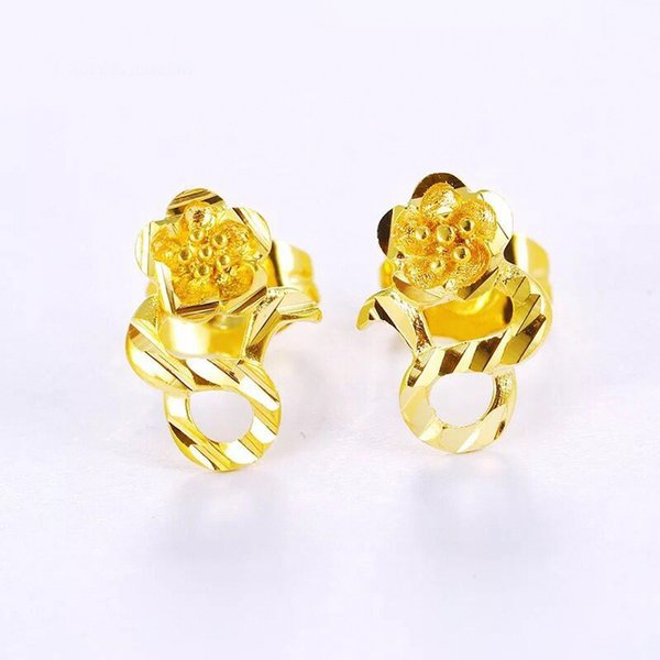 MGFam (634E) 24k Pure Gold Plated Flowers Stud Earrings for Women Bridal Classic Style Drop Shipping Wedding Jewelry