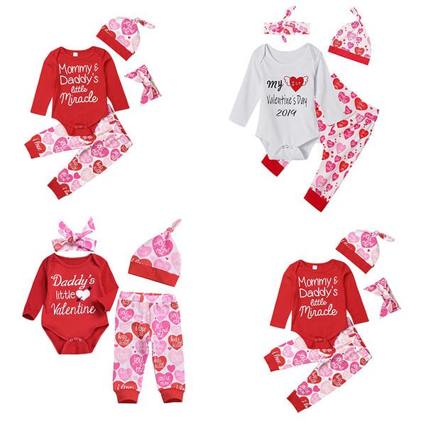 Dia dos Namorados do bebê meninas outfits crianças carta impressão romper + coração calças com chapéu de cabeça 4 pçs / set primavera outono crianças Conjuntos de RoupasC5803