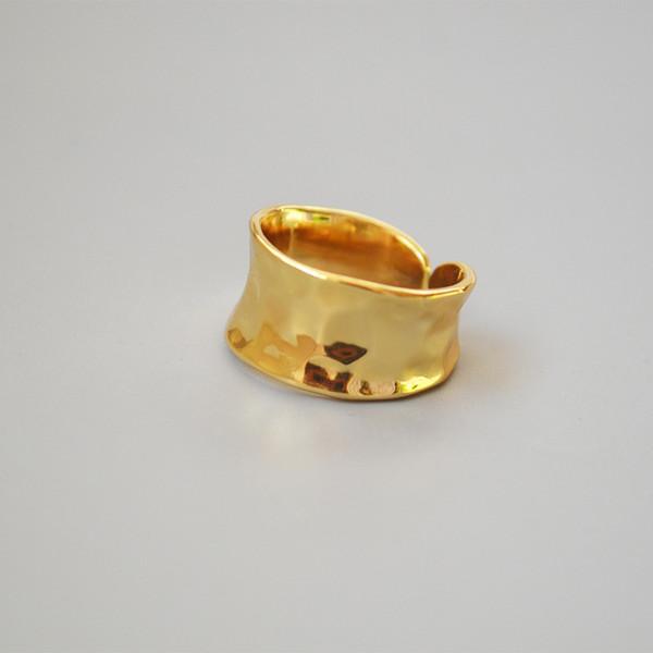 Personalidad europea y americana original retro concaveconvex martillo latón irregular chapado en oro real abierto anillo ajustable dedo índice rin