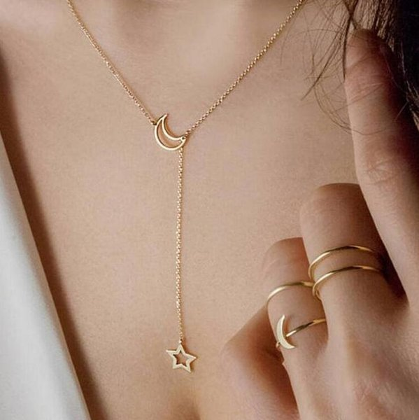 best selling Necklace Pendant Woman Fashion Jewelry Bird Peace Dove Gold Silver Moon Star Beach Summer Wholesale Pop Simple Gift