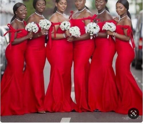 Mermaid Red Bridesmaid Dresses Plus Size Cheap African Wedding Guest Dress  Elegant Evening Formal Dresses 2019 Vestido De Novia Dress Dresses From ...