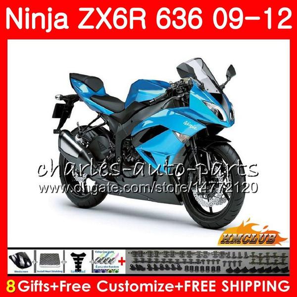 Kit For KAWASAKI NINJA ZX-6R ZX636 ZX600 ZX-636 33NO.27 ZX 636 600CC 6 R ZX 6R 2009 2010 2011 2012 ZX6R 09 10 11 12 Fairings pearl blue top