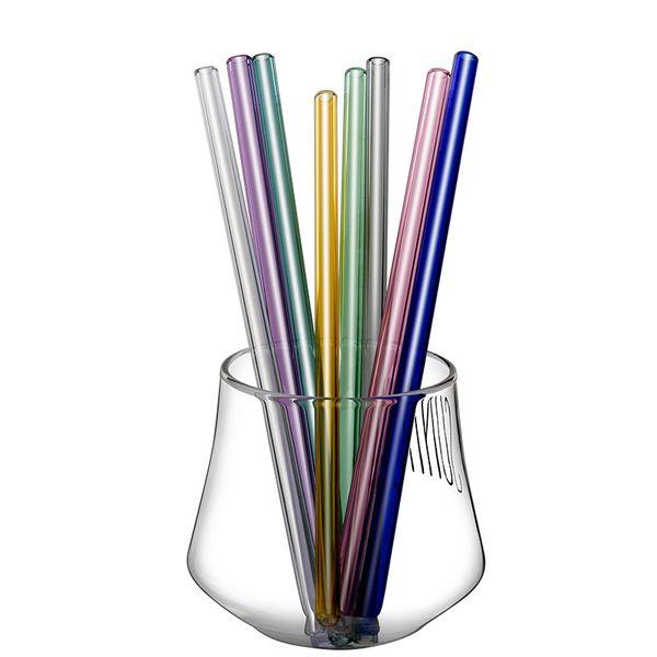 Wiederverwendbare Glasstrohe 14 Farben Gerade Bunte Trinkhalme 8 * 180 MM ECO Freundliche Bar Trinkwerkzeuge Party Supplies 2 Stücke ePacket