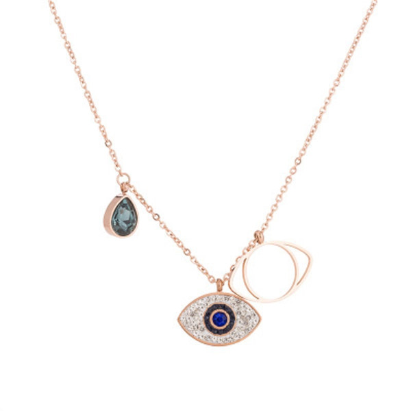 Double Blue Evil Eyes Pendat Necklace Swa Brand Designer for Women Gold Color Cubic Zirconia Stainless Steel Charm Necklaces Jewelry Gift