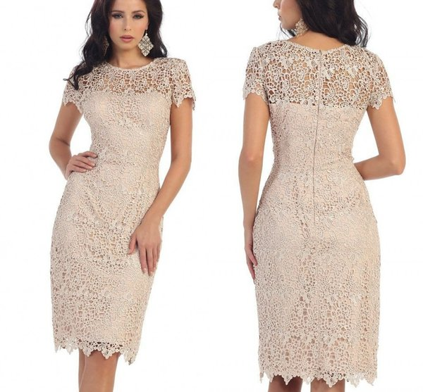 Lace Mother Of The Bride Dresses Jewel Short Sleeve Knee Length Mothers Bridesmaid Gowns Plus Size Custom Made Party Dress