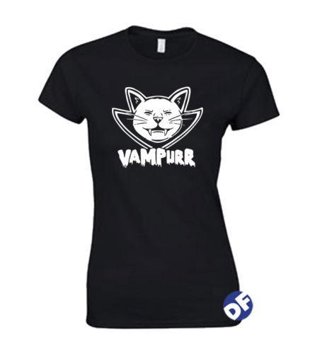 Gatto Vampiro Halloween maglietta Fun signore PETITE Fit Vampurr limitati progettazione fornitura t shirt uomo del fumetto unisex Il nuovo modo maglietta